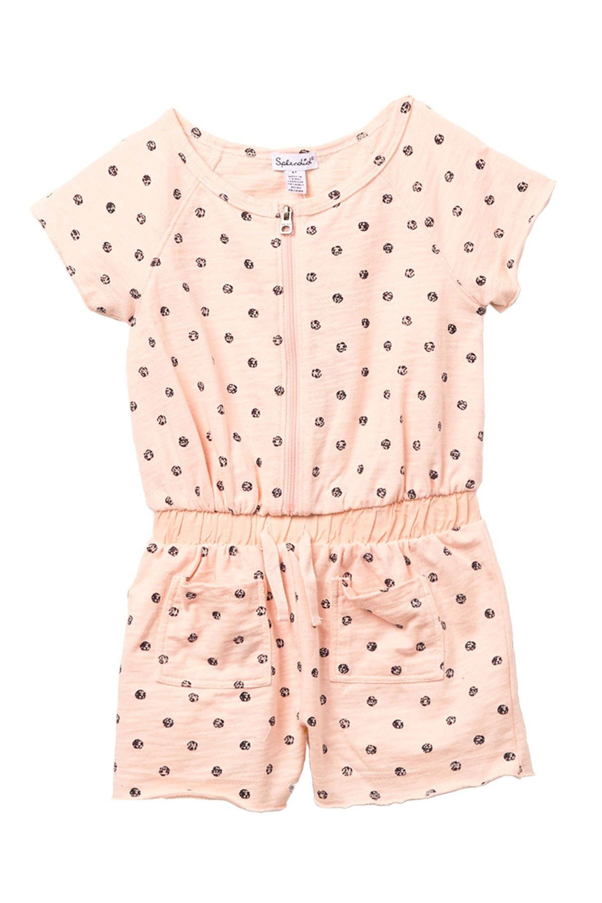 Image of Splendid Dot Print Zipper Front Romper