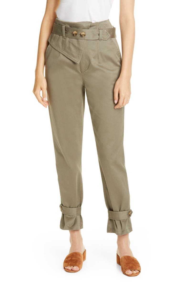TRAVE Kennedy Belted Tapered Pants, Main, color, GREEN FIELDS