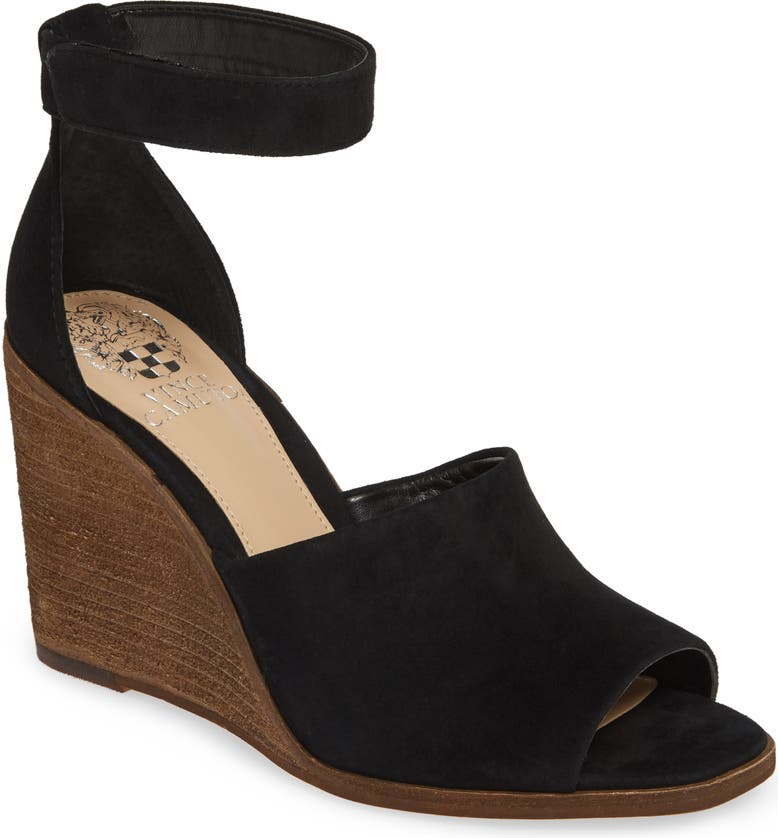 VINCE CAMUTO Deedriana Wedge Sandal, Main, color, BLACK SUEDE