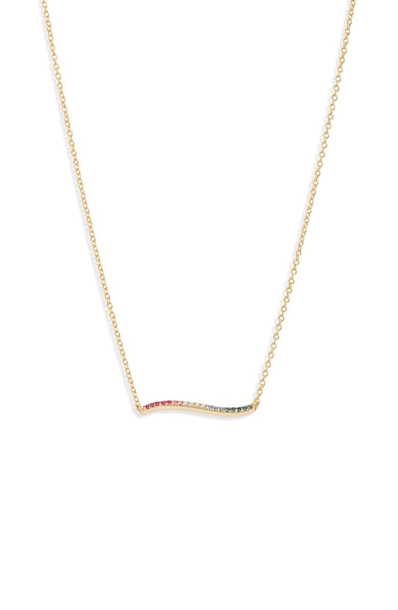GORJANA Rosslyn Wave Pendant Necklace, Main, color, GOLD/ MULTI CZ
