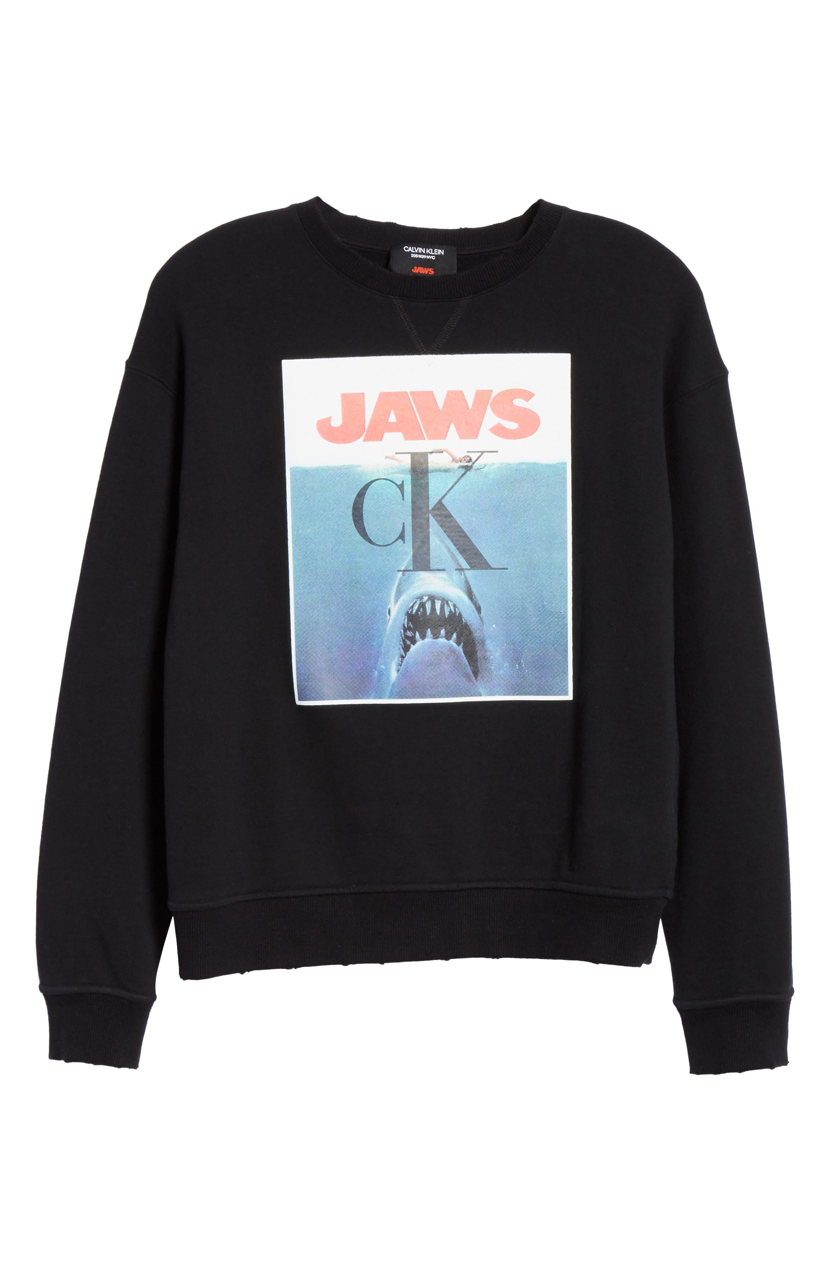 ,                             'Jaws' Graphic Sweatshirt,                             Alternate thumbnail 7, color,                             BLACK