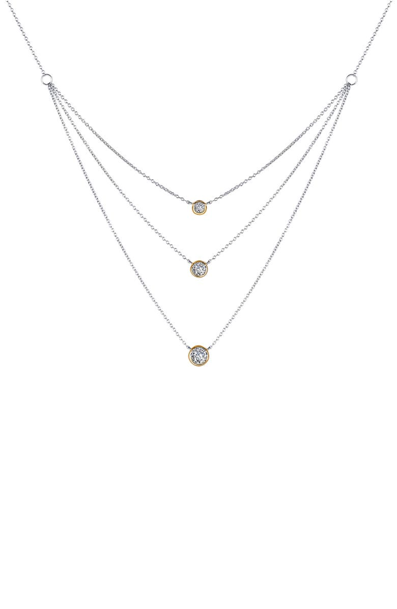 LAFONN Simulated Diamond Tiered Necklace, Main, color, SILVER/GOLD/CLEAR