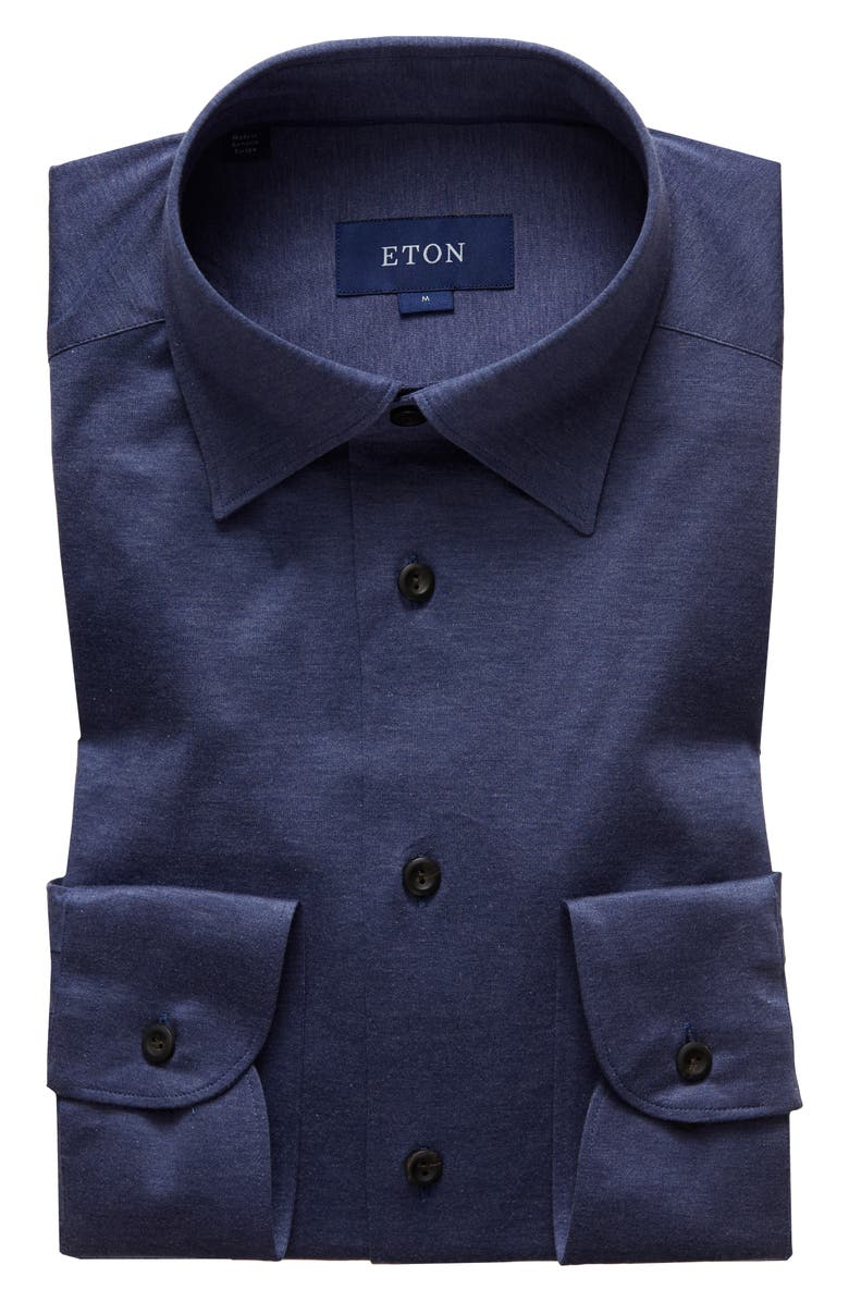 ETON Soft Casual Line Slim Fit Jersey Shirt, Main, color, NAVY