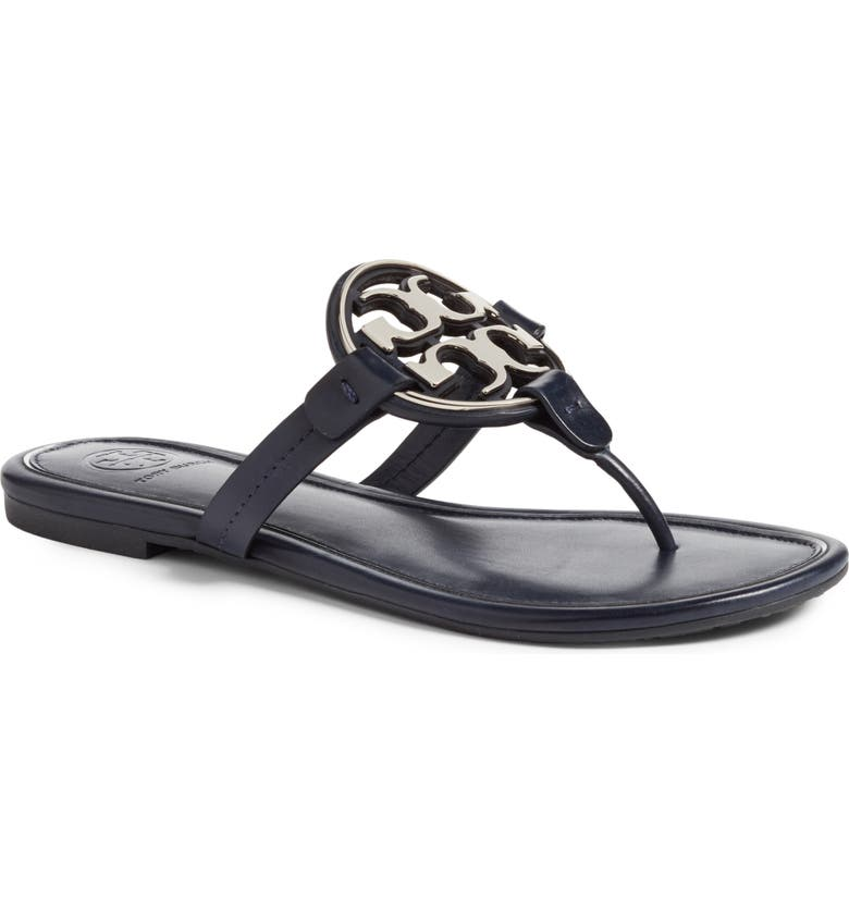 TORY BURCH Metal Miller Flip Flop, Main, color, PERFECT NAVY / SILVER