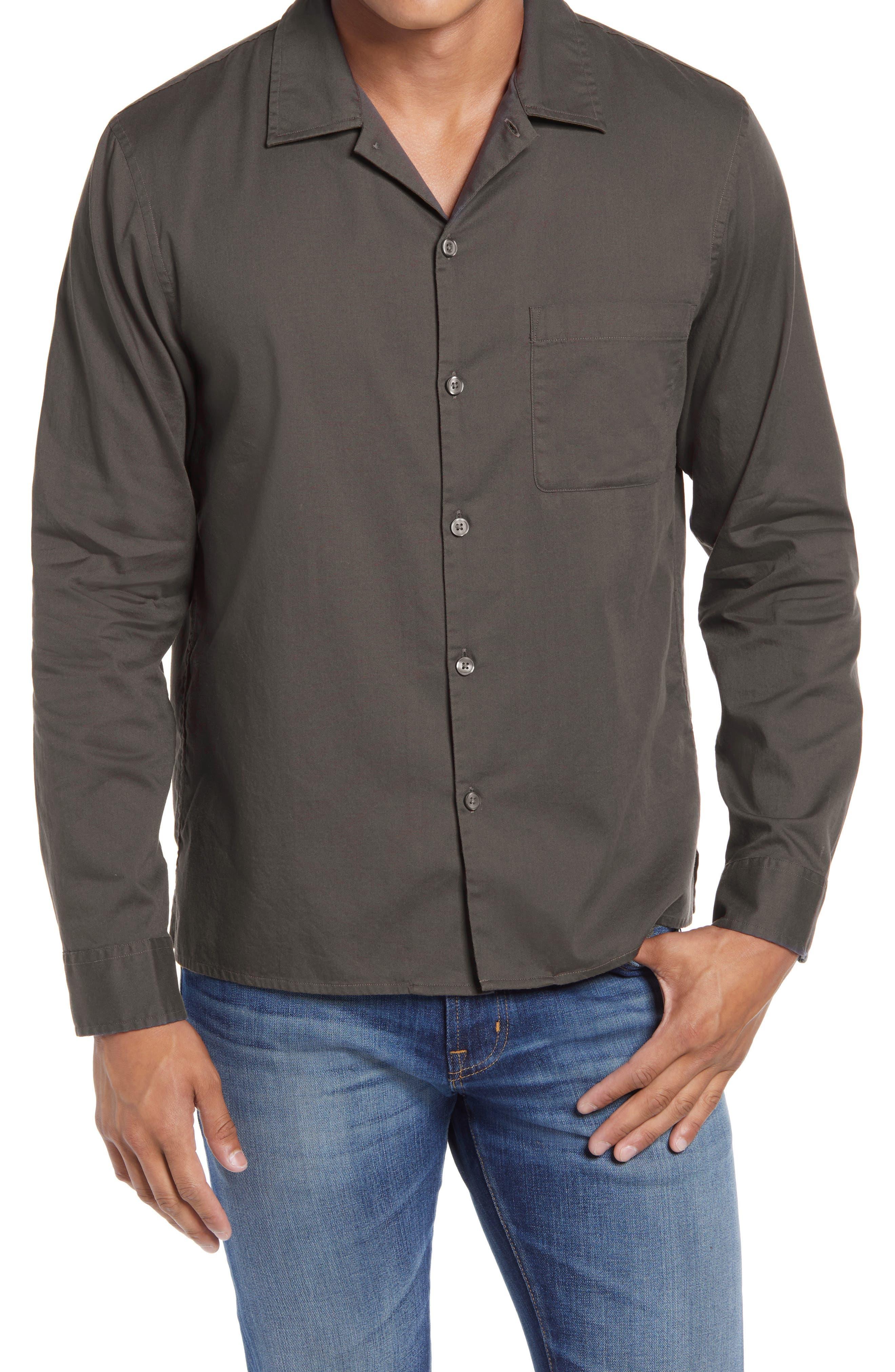 1950s Mens Shirts | Retro Bowling Shirts, Vintage Hawaiian Shirts Mens Club Monaco Standard Fit Solid Button-Up Camp Shirt Size XX-Large - Brown $62.65 AT vintagedancer.com