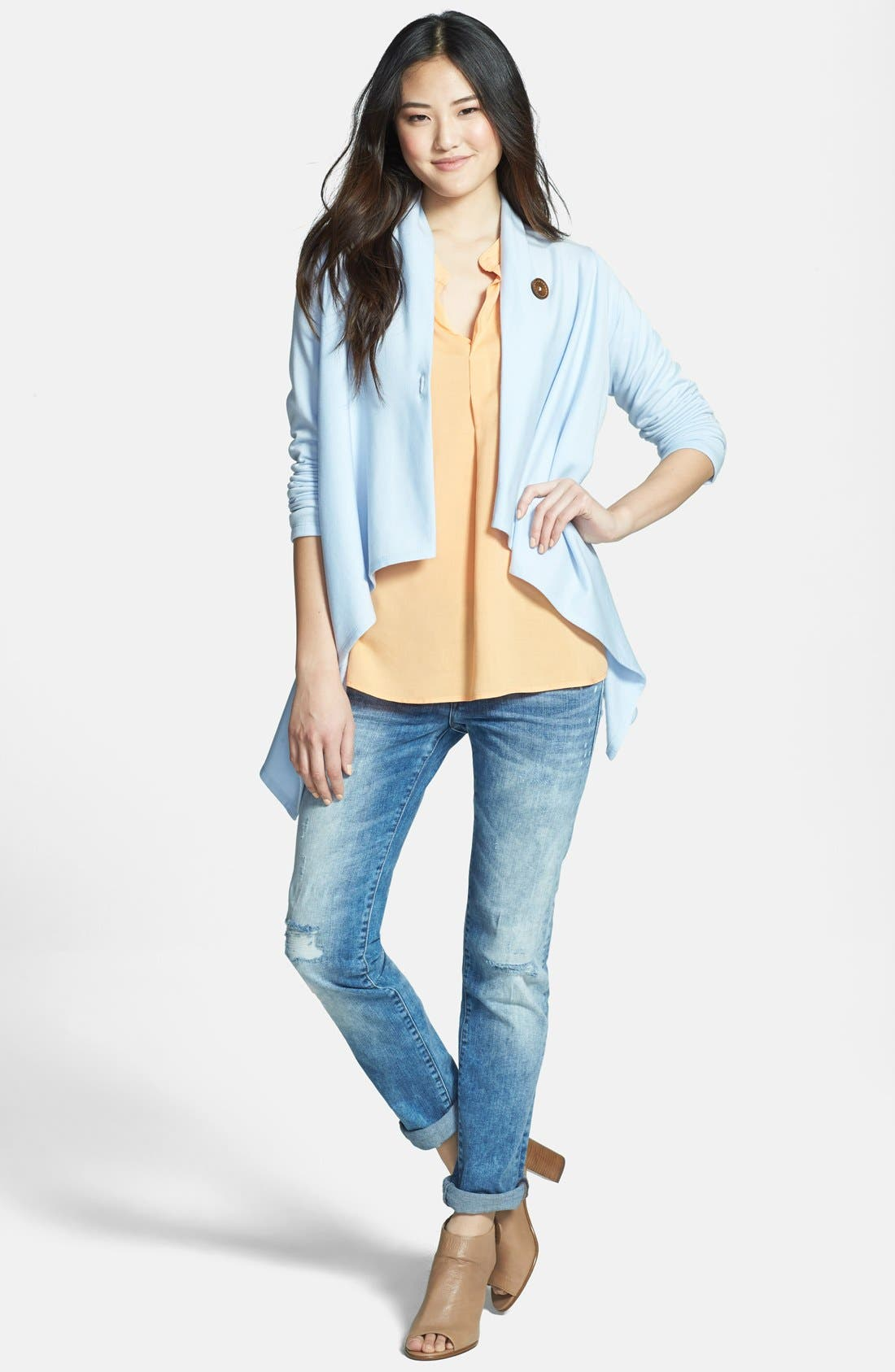 ,                             One-Button Fleece Wrap Cardigan,                             Alternate thumbnail 149, color,                             468