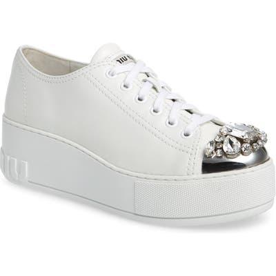 Miu Miu Embellished Metal Toe Platform Sneaker, White (Nordstrom Exclusive)