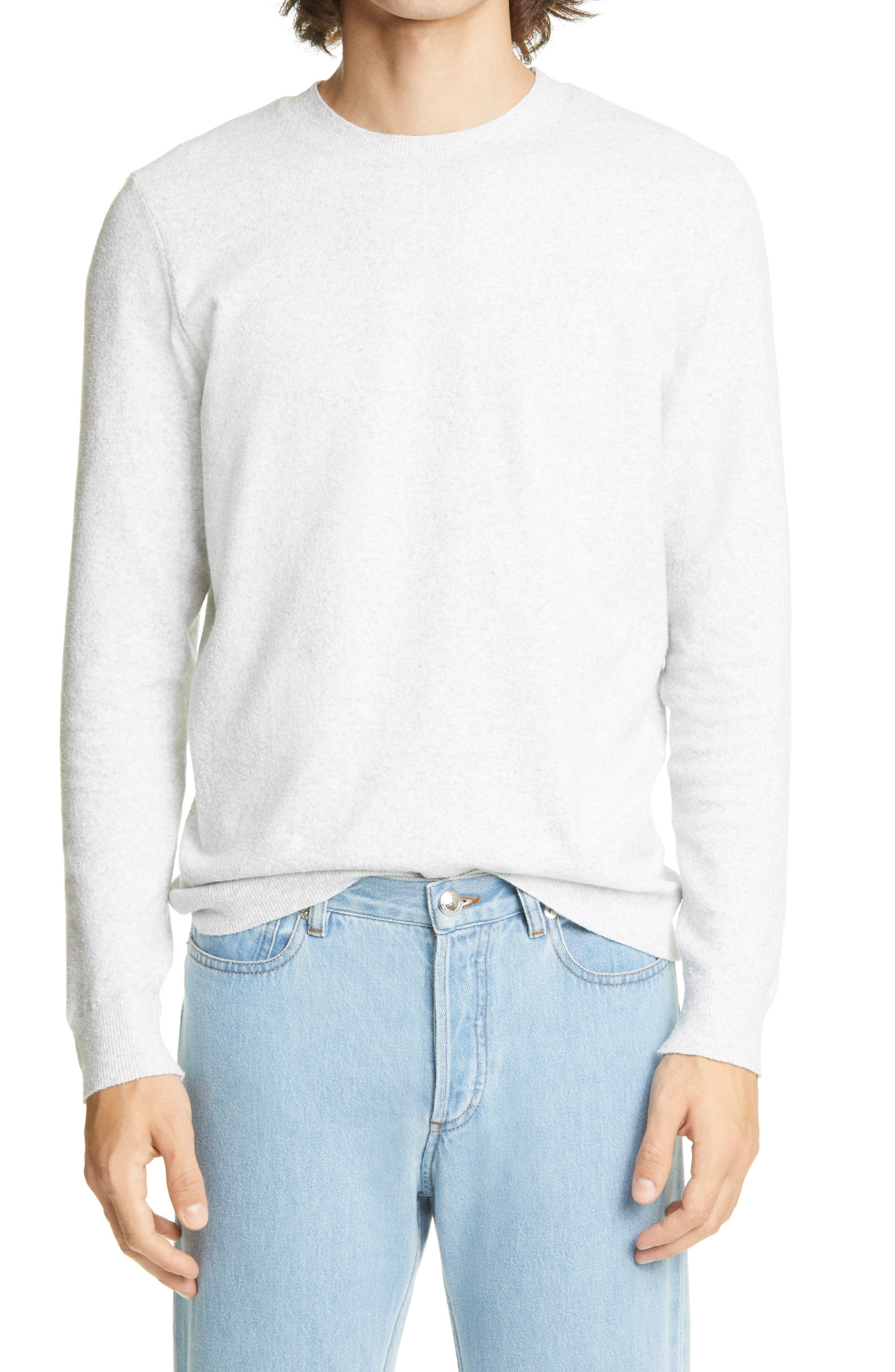 Lightly heathered coloring brings easy versatility to a sweater knit from a soft, stretchy cotton blend in a fit that\\\'s easy to layer or wear on its own. Style Name:A.p.c. Patrick Crewneck Sweater. Style Number: 6082378. Available in stores.