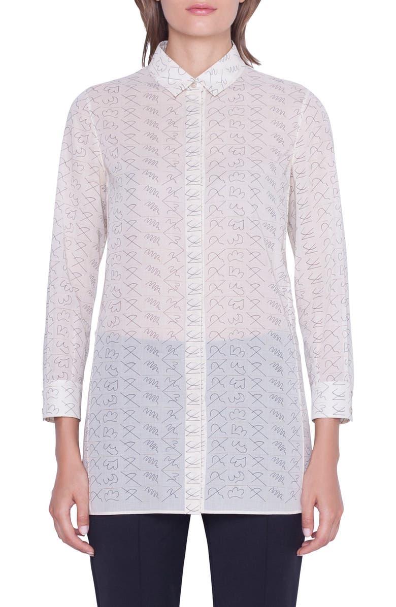 AKRIS Leporello Print Cotton Voile Shirt, Main, color, 100