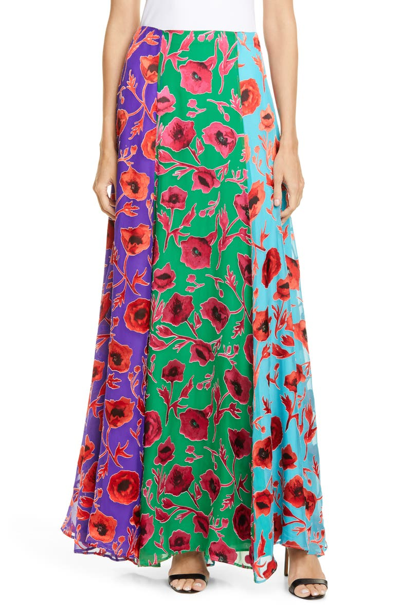 ALICE + OLIVIA Aquinnah Panneled Maxi Skirt, Main, color, POPPY GARDEN EMERALD