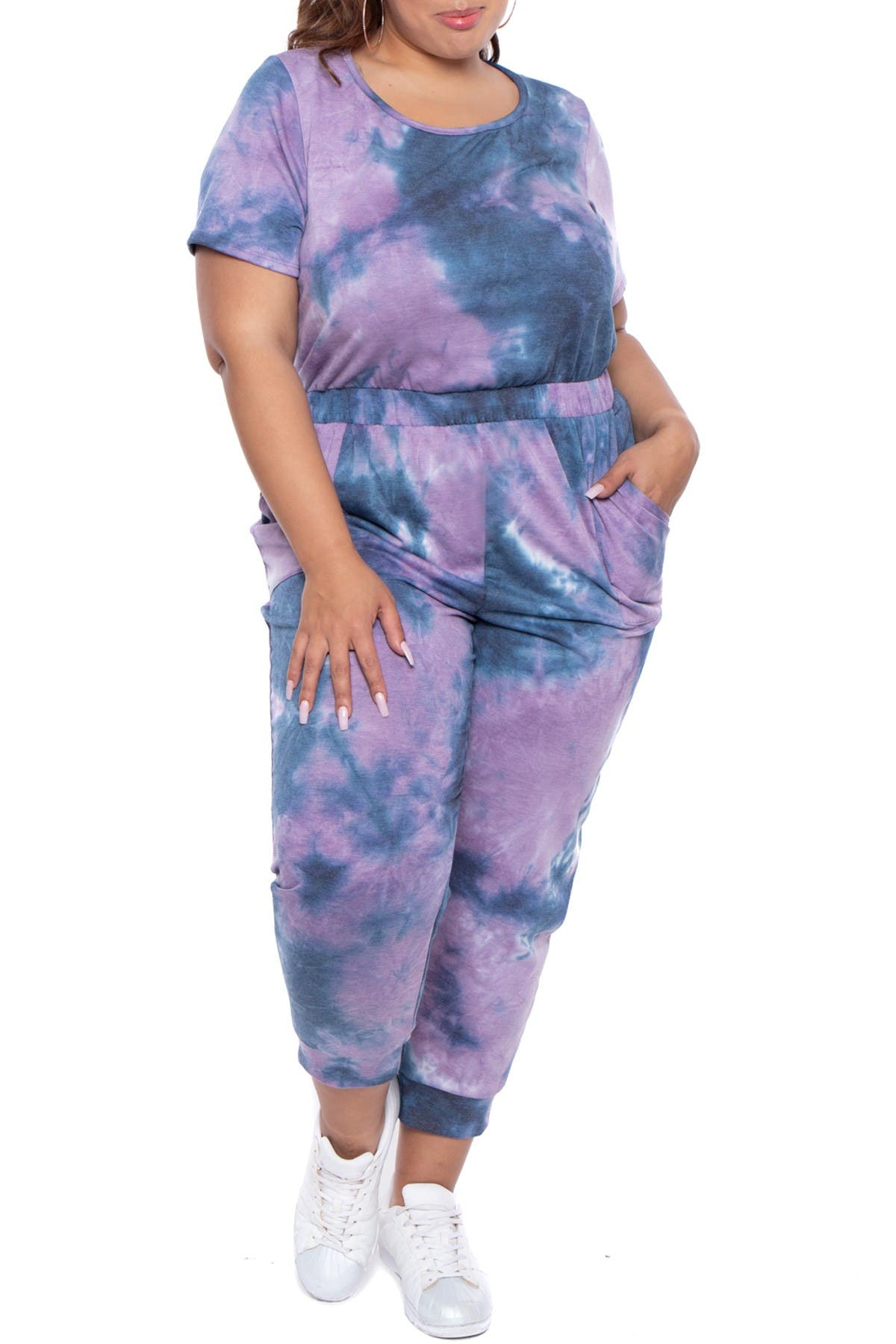 Image of Curvy Sense Crew Neck Fleece Jumpsuit