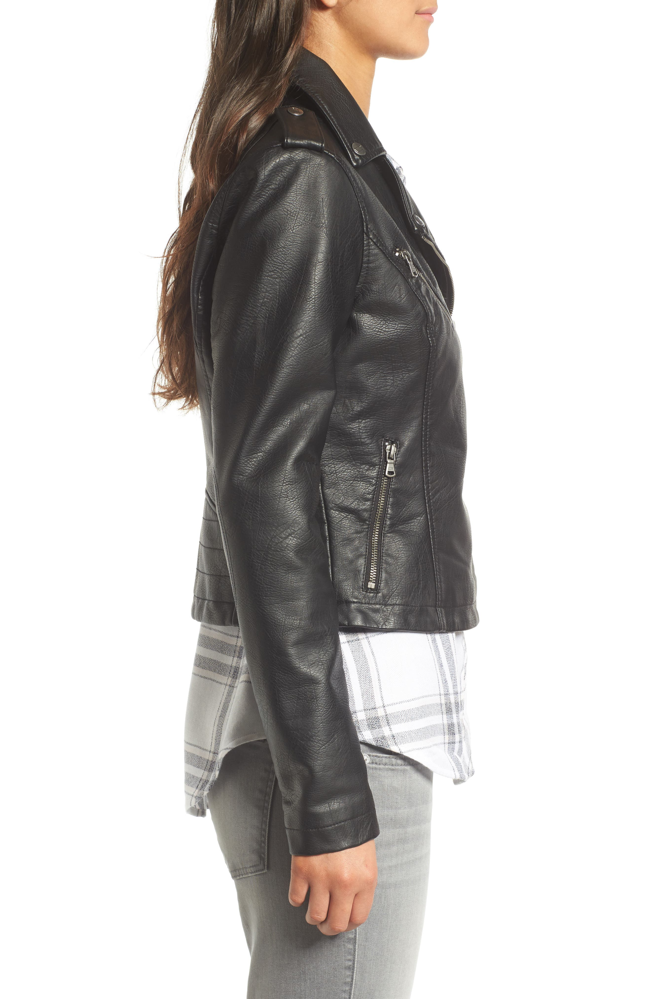 ,                             Faux Leather Moto Jacket,                             Alternate thumbnail 22, color,                             001