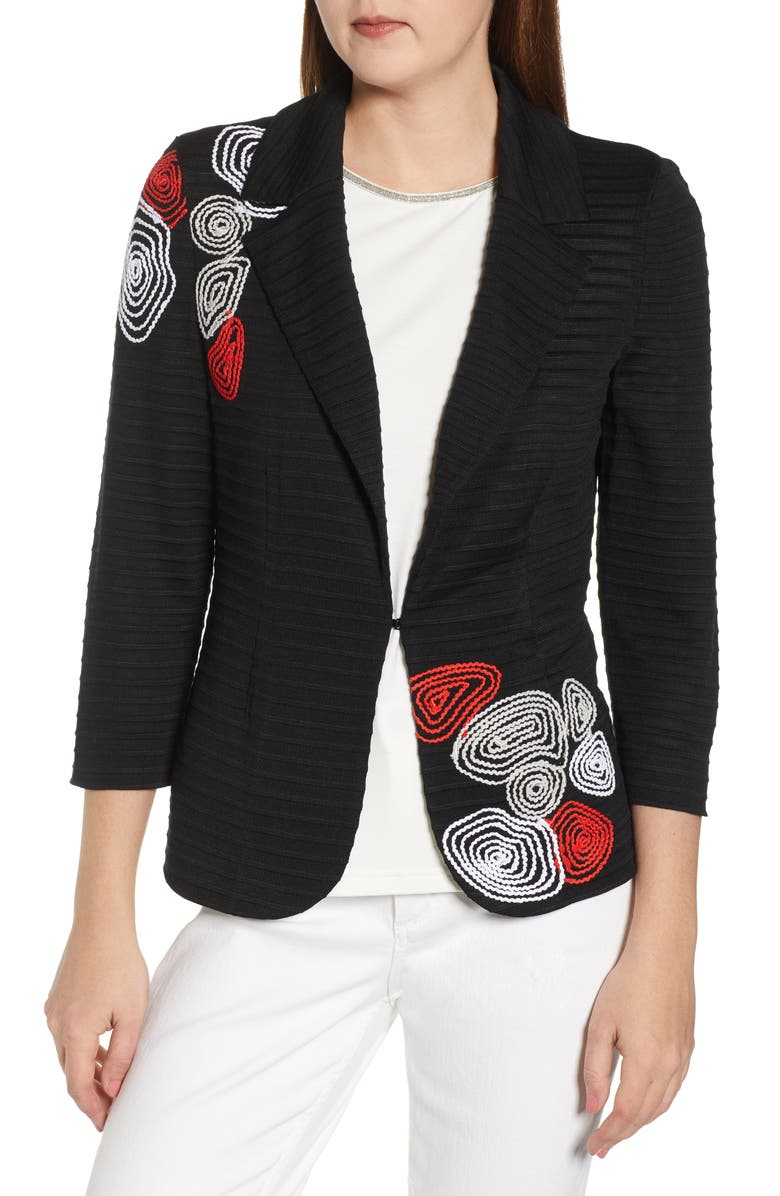 MING WANG Embroidered Sweater Jacket, Main, color, MULTI