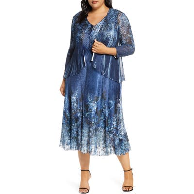 Plus Size Komarov Floral Midi Dress With Long Sleeve Jacket, Blue