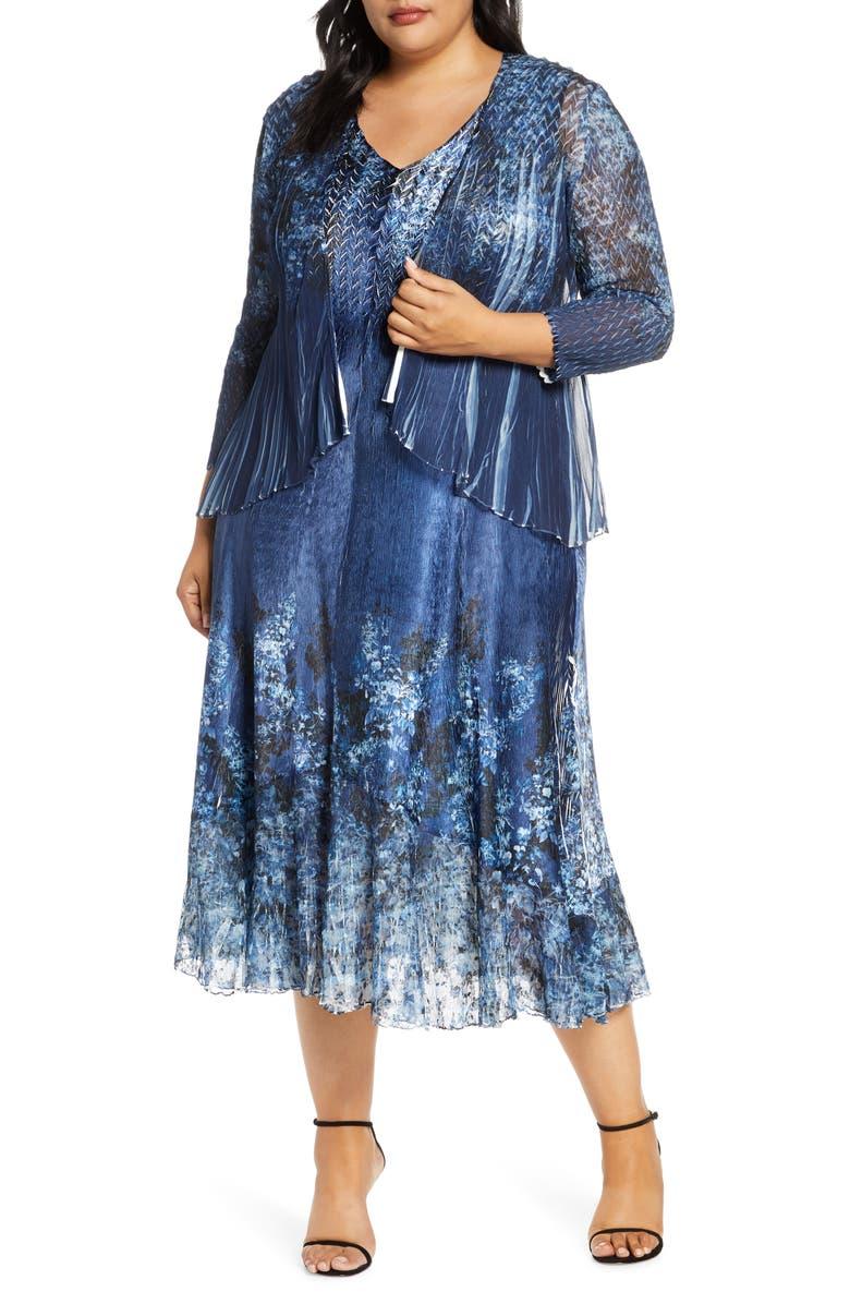 KOMAROV Floral MIdi Dress with Long Sleeve Jacket, Main, color, 400