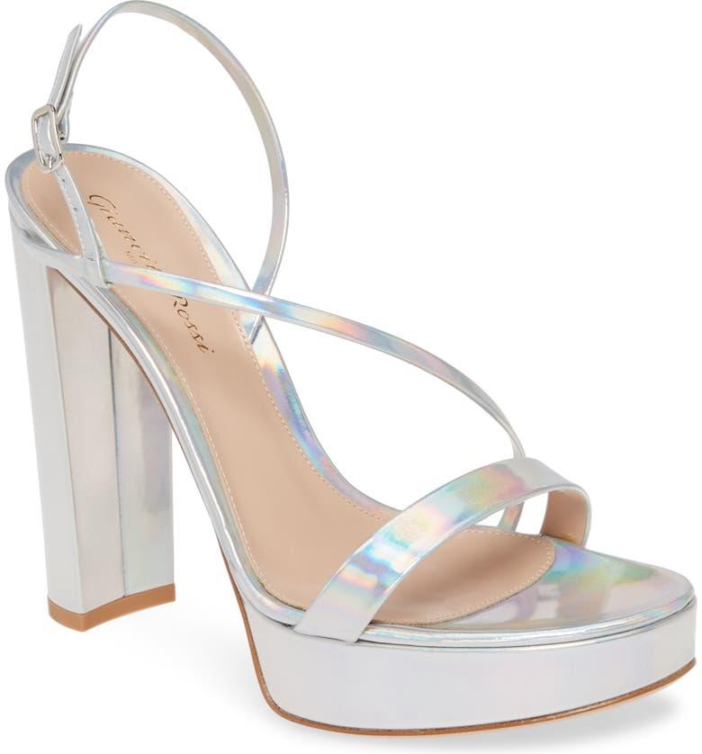 GIANVITO ROSSI Strappy Platform Sandal, Main, color, SILVER