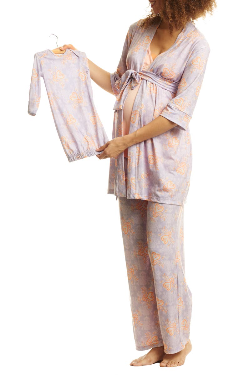 EVERLY GREY Analise During & After 5-Piece Maternity/Nursing Sleep Set, Main, color, BOHO