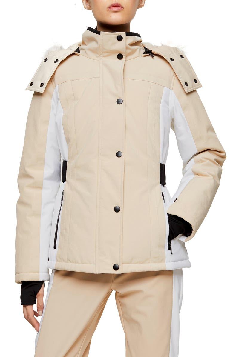 TOPSHOP SNO Luna Jacket, Main, color, TAN MULTI