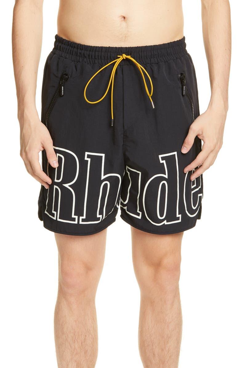 RHUDE Nylon Swim Trunks, Main, color, BLACK/WHITE