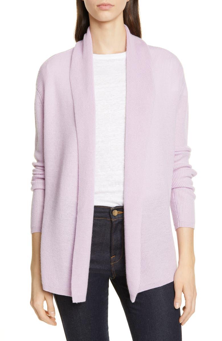 NORDSTROM SIGNATURE Cashmere & Linen Open Cardigan, Main, color, PURPLE FAIR