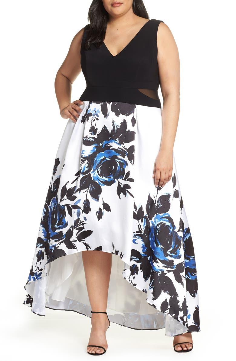 6b3f9a4300 High/Low Floral Maxi Dress, Main, color, BLACK/ IVORY/ BLUE