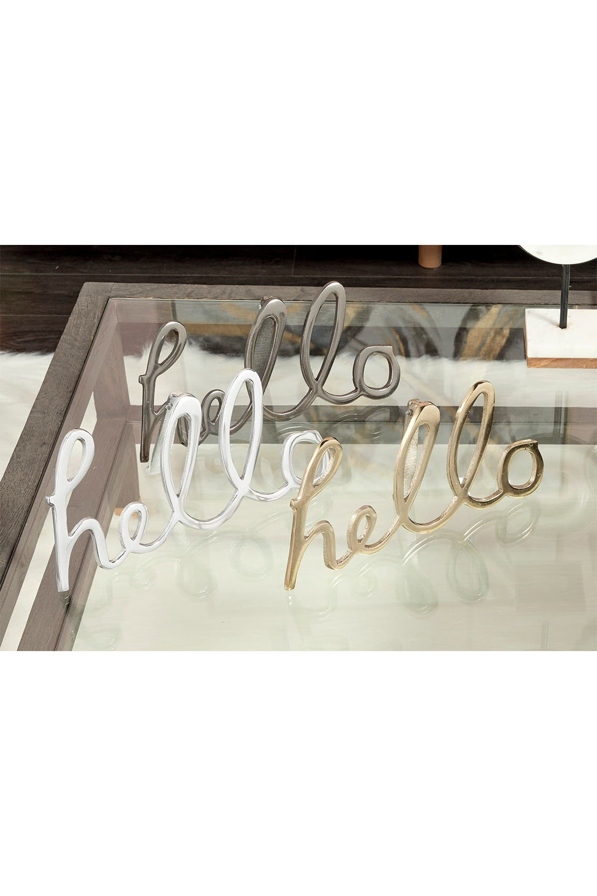 Image of CosmoLiving by Cosmopolitan Large Metal Hello Decorative Sign - Set of 3