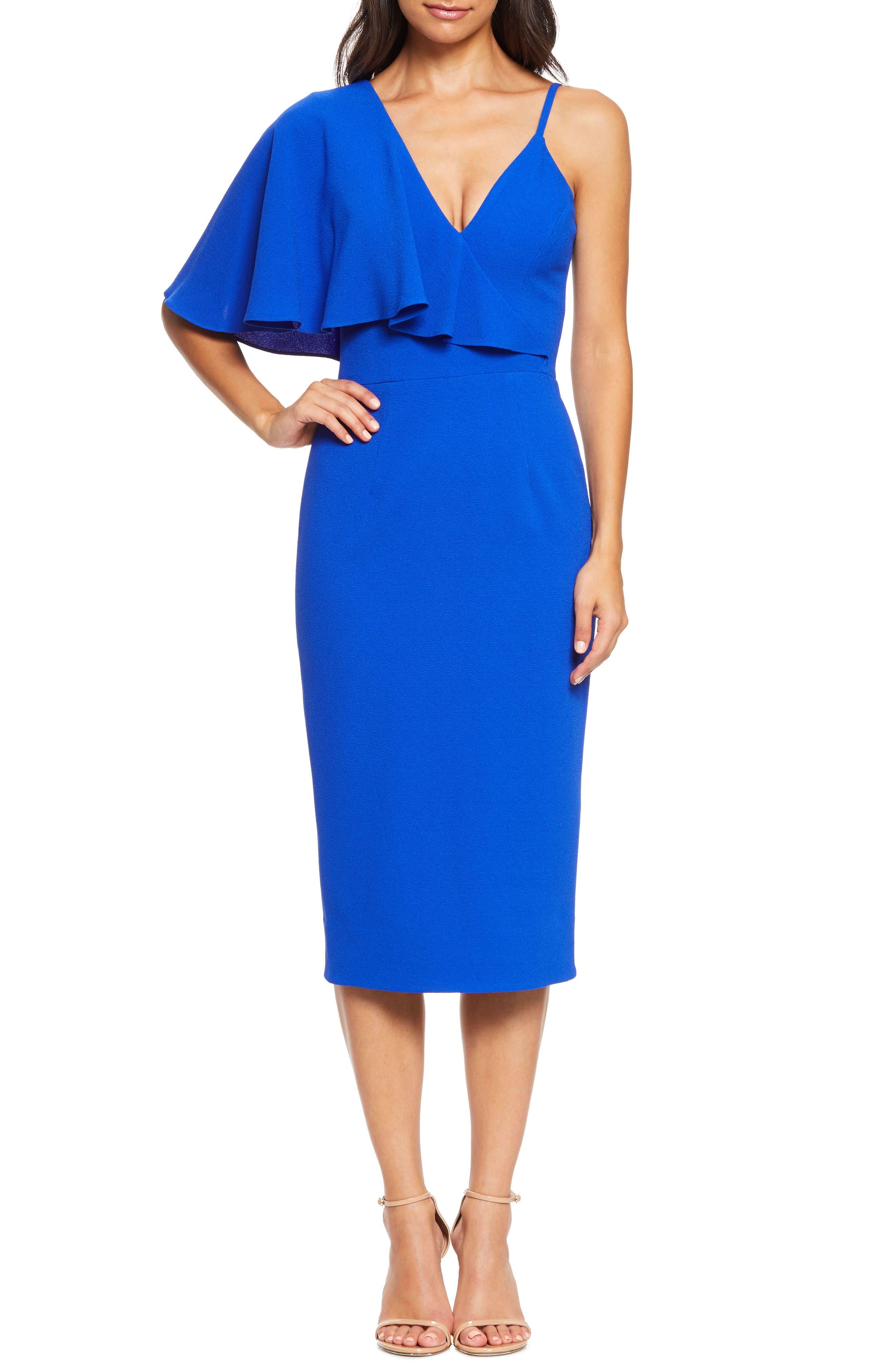 Dress The Population Beth Asymmetrical Ruffle Sleeve Dress, Blue