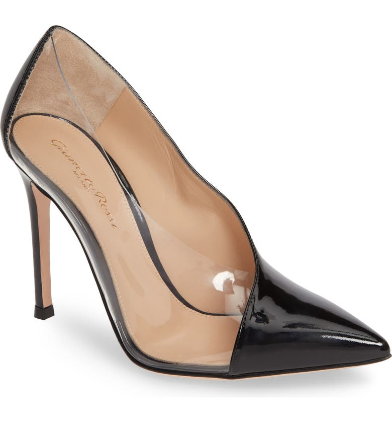 GIANVITO ROSSI Clear Sided Pump, Main, color, BLACK/ PVC