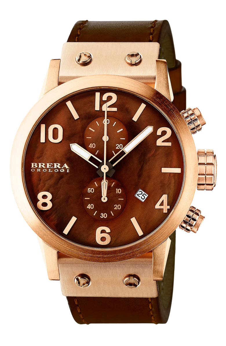 BRERA OROLOGI ISBLA RG BRN DIAL COTTO CALF, Main, color, 200