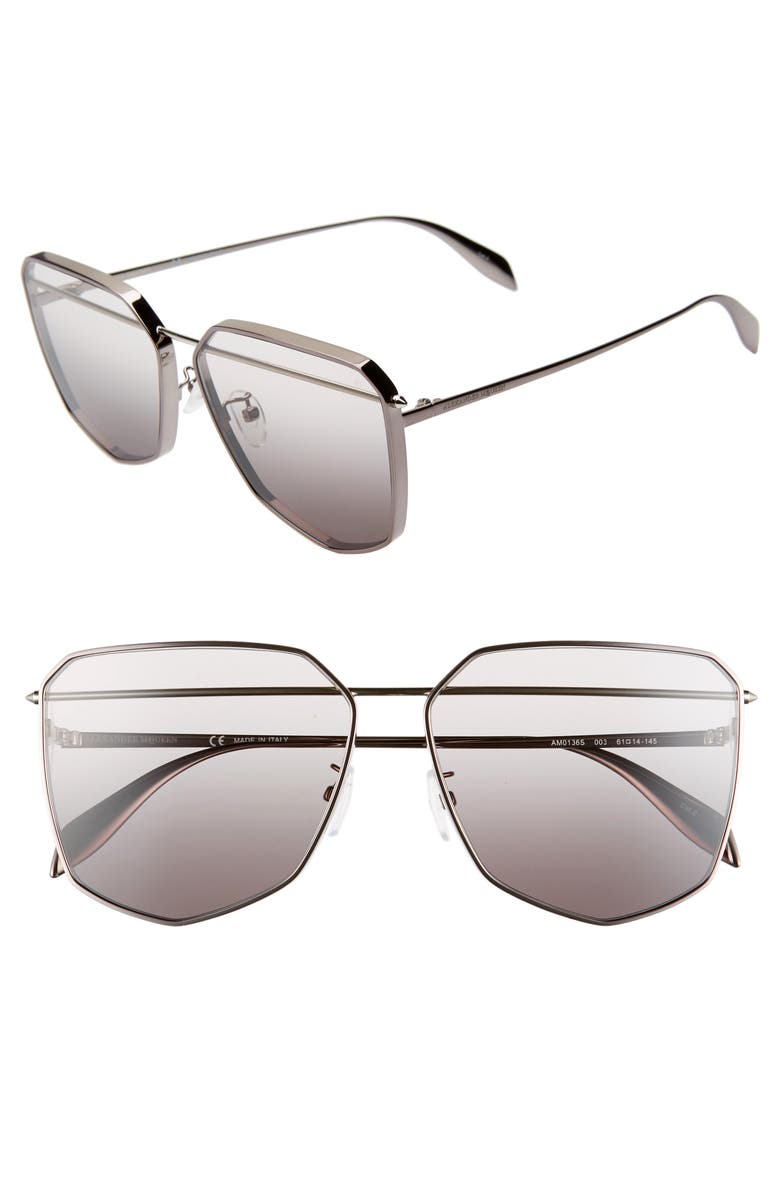 ALEXANDER MCQUEEN 61mm Navigator Sunglasses, Main, color, DARK RUTHENIUM