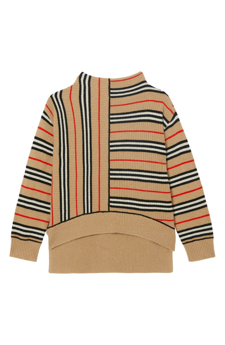 BURBERRY Bianca Stripe Funnel Neck Sweater, Main, color, ARCHIVE BEIGE