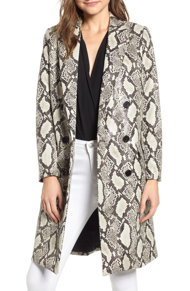 MURAL Snakeskin Faux Leather Jacket, Main, color, 250