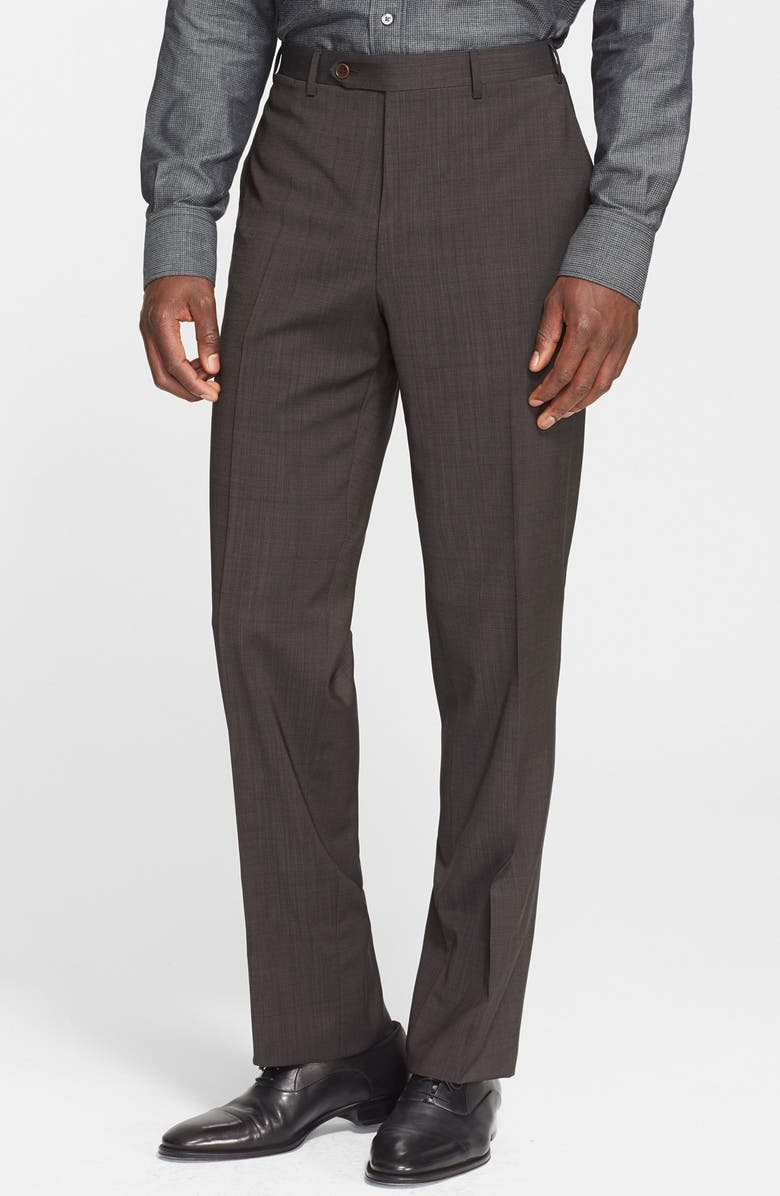 CANALI Flat Front Classic Fit Wool Dress Pants, Main, color, BROWN