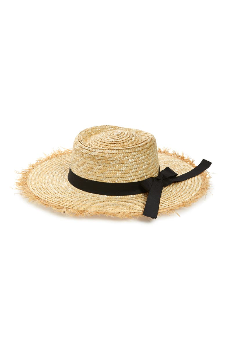 SOMETHING NAVY Frayed Edge Straw Boater Hat, Main, color, NATURAL COMBO
