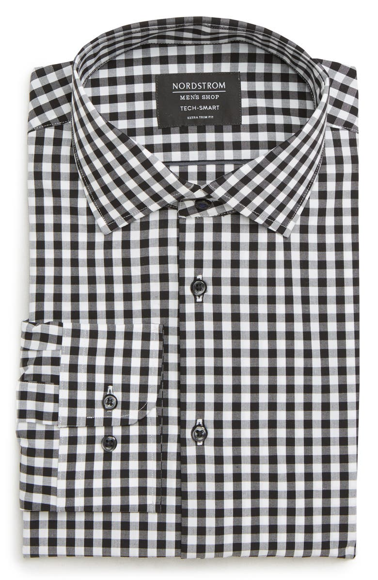 NORDSTROM MEN'S SHOP Tech-Smart Extra Trim Fit Stretch Check Dress Shirt, Main, color, BLACK ROCK