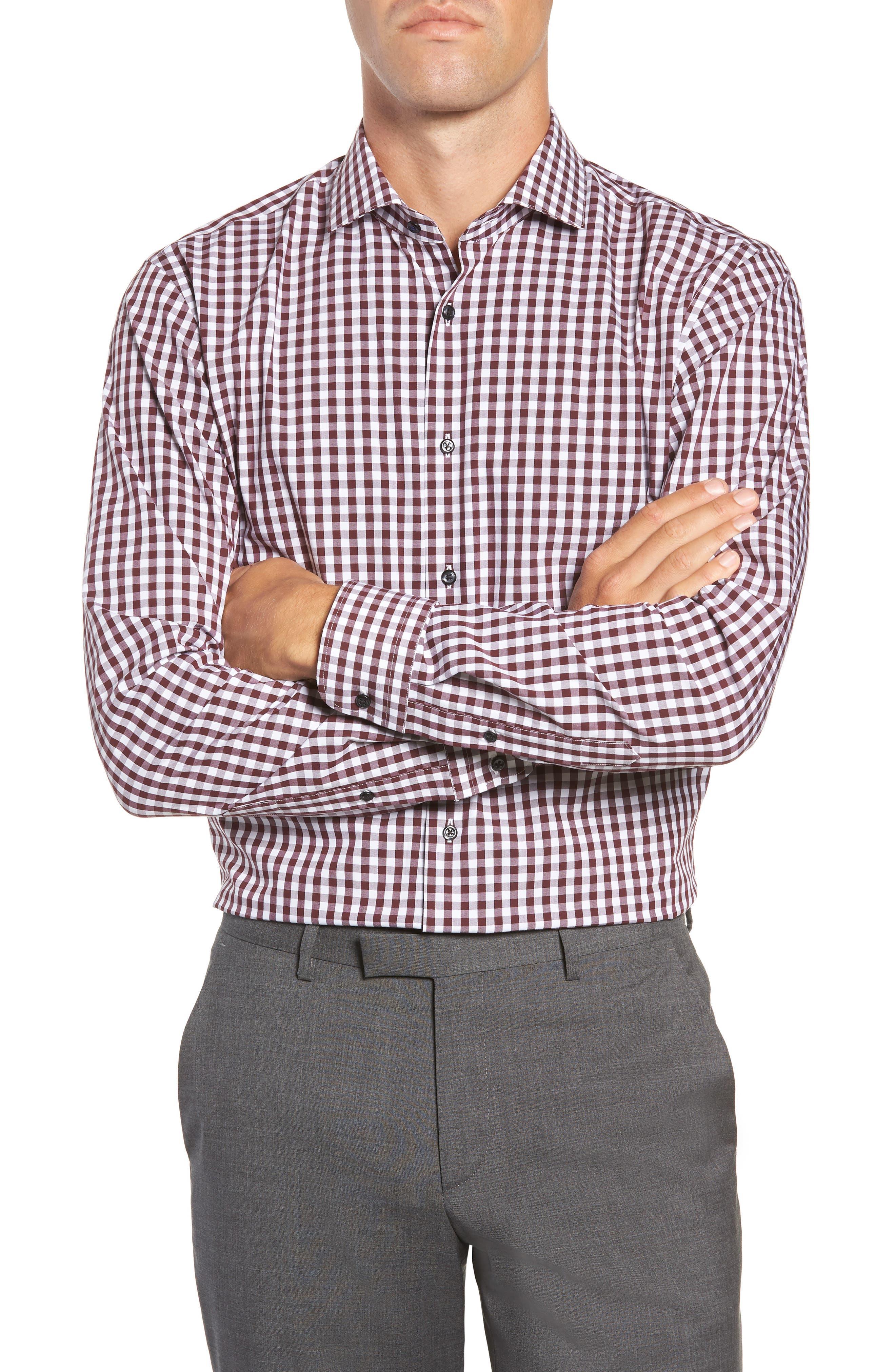 ,                             Tech-Smart Trim Fit Stretch Check Dress Shirt,                             Main thumbnail 51, color,                             930