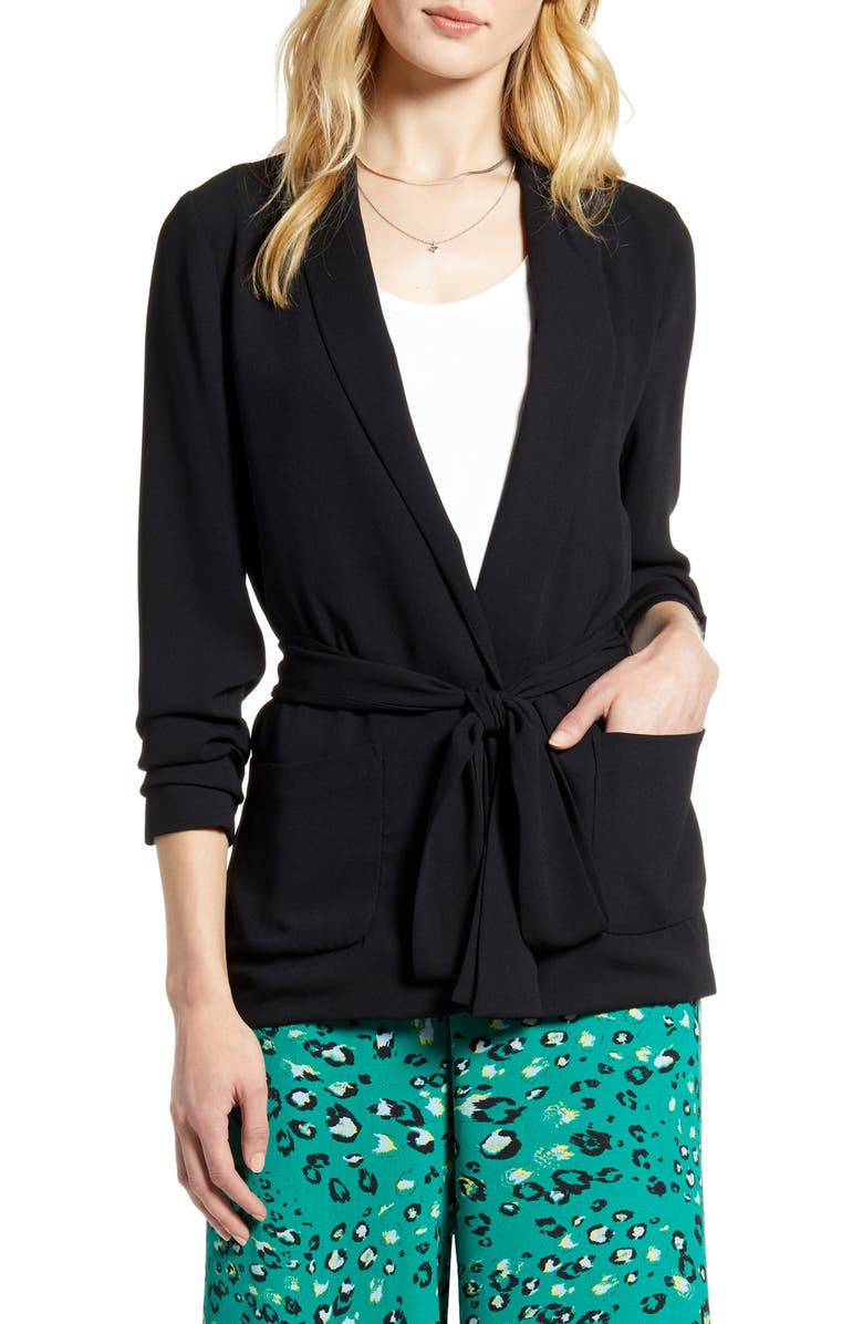 HALOGEN<SUP>®</SUP> Soft Tie Waist Jacket, Main, color, BLACK