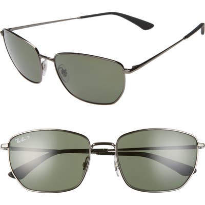 Ray-Ban 5m Polarized Navigator Sunglasses - Gunmetal/ Dark Green Polar