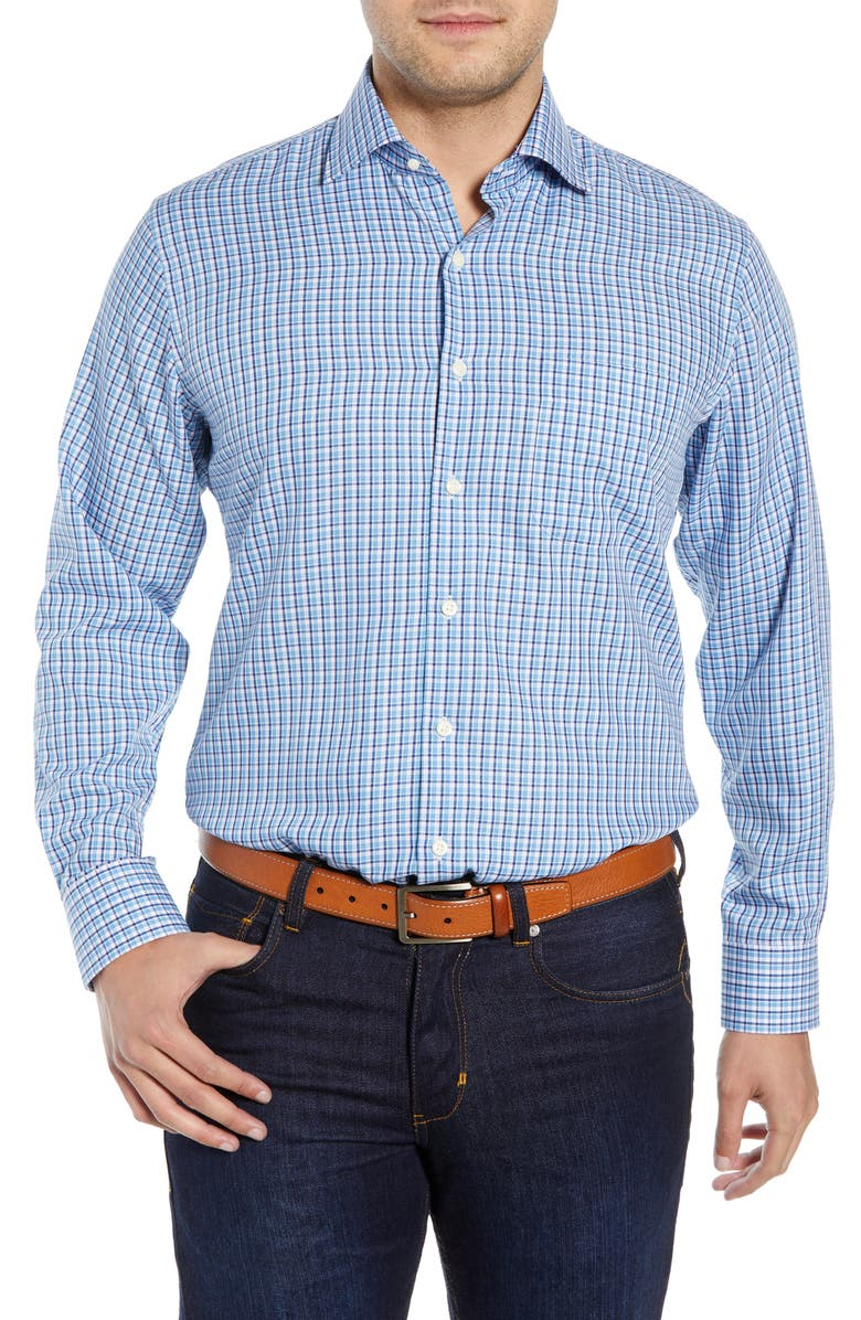 PETER MILLAR Point Danger Check Sport Shirt, Main, color, 412