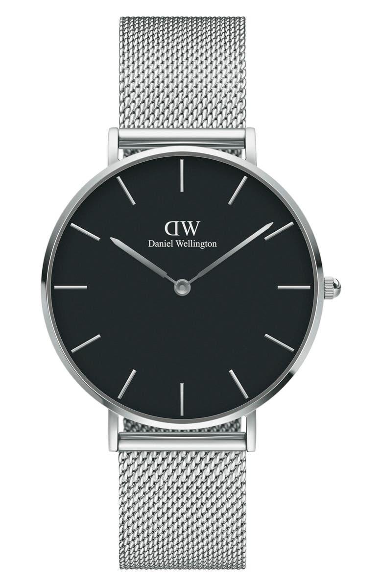 DANIEL WELLINGTON Petite Melrose Mesh Strap Watch, 36mm, Main, color, SILVER/ BLACK