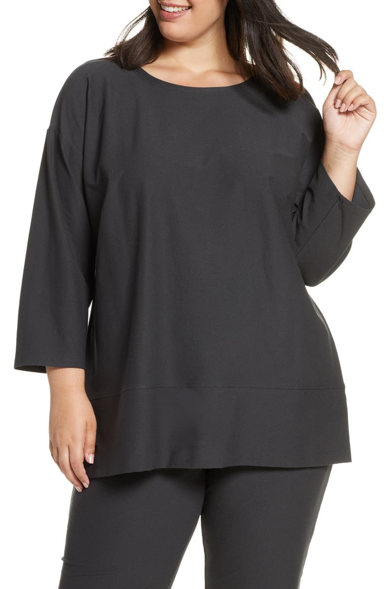 EILEEN FISHER Bracelet Sleeve Tunic, Main, color, CHARCOAL