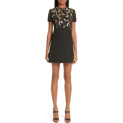 Valentino Floral Embroidered Crepe Couture Dress, Black