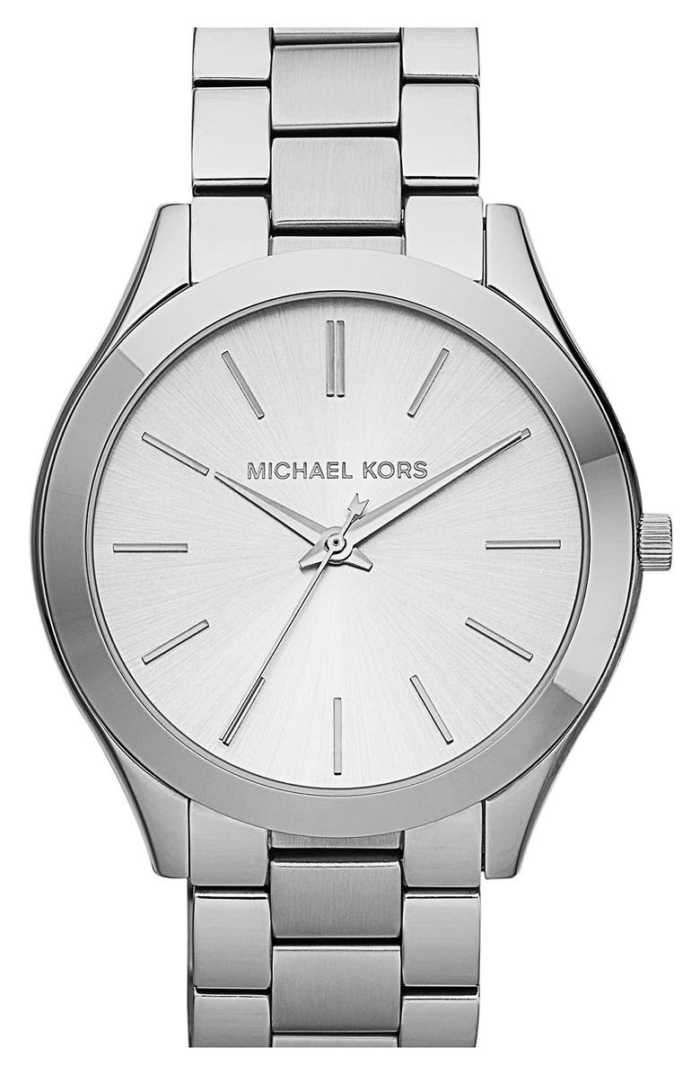 MICHAEL KORS 'Slim Runway' Bracelet Watch, 42mm, Main, color, SILVER