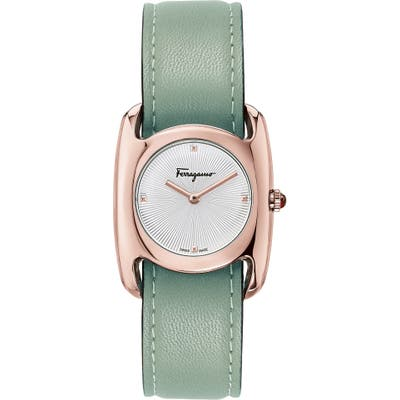 Salvatore Feragamo Vara Leather Strap Watch, 2m Mm