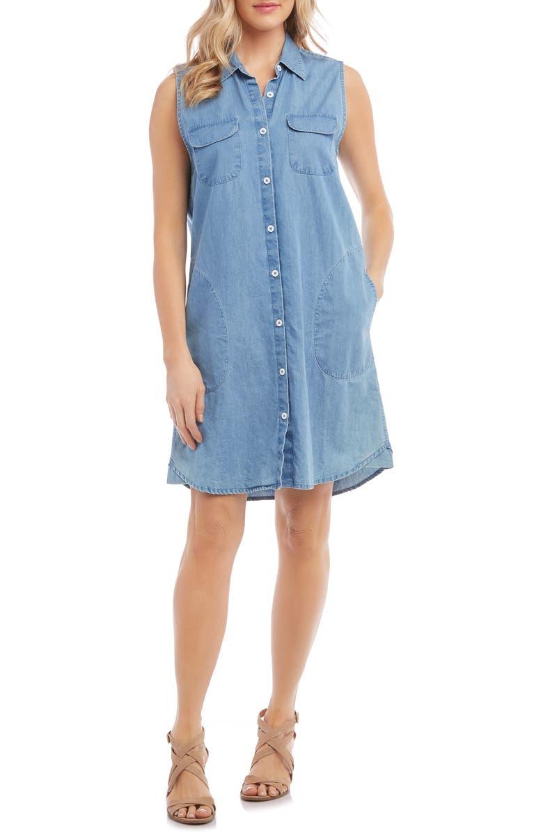 KAREN KANE Chambray Shirtdress, Main, color, 455