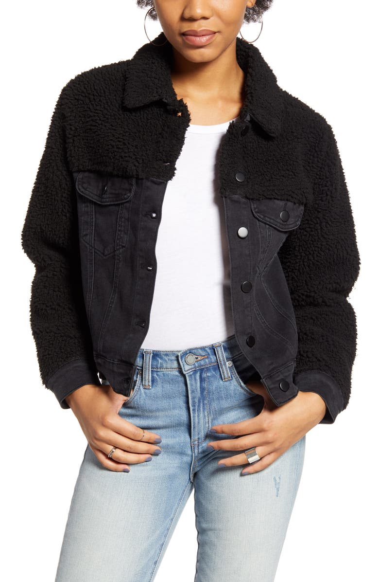 TEN SIXTY SHERMAN Denim Jacket with Faux Shearling, Main, color, BLACK