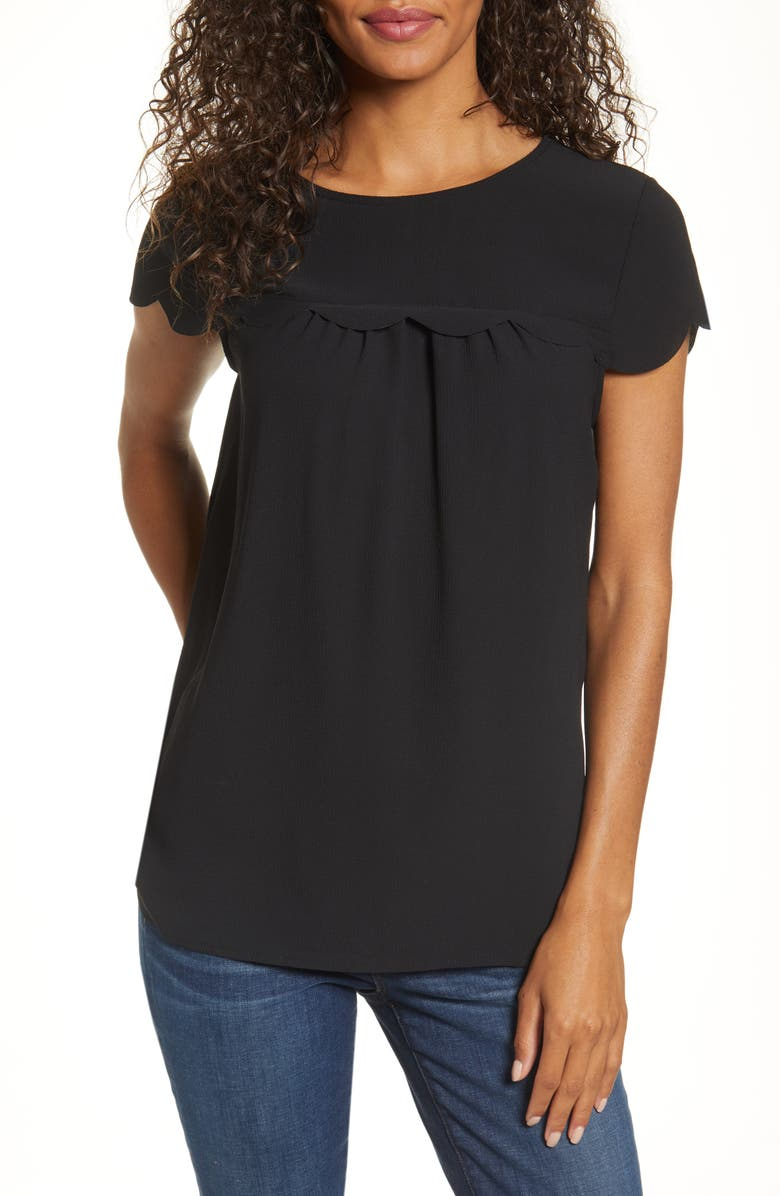 GIBSON x Fall Refresh Fancy Ashley Woven Scallop Top, Main, color, BLACK