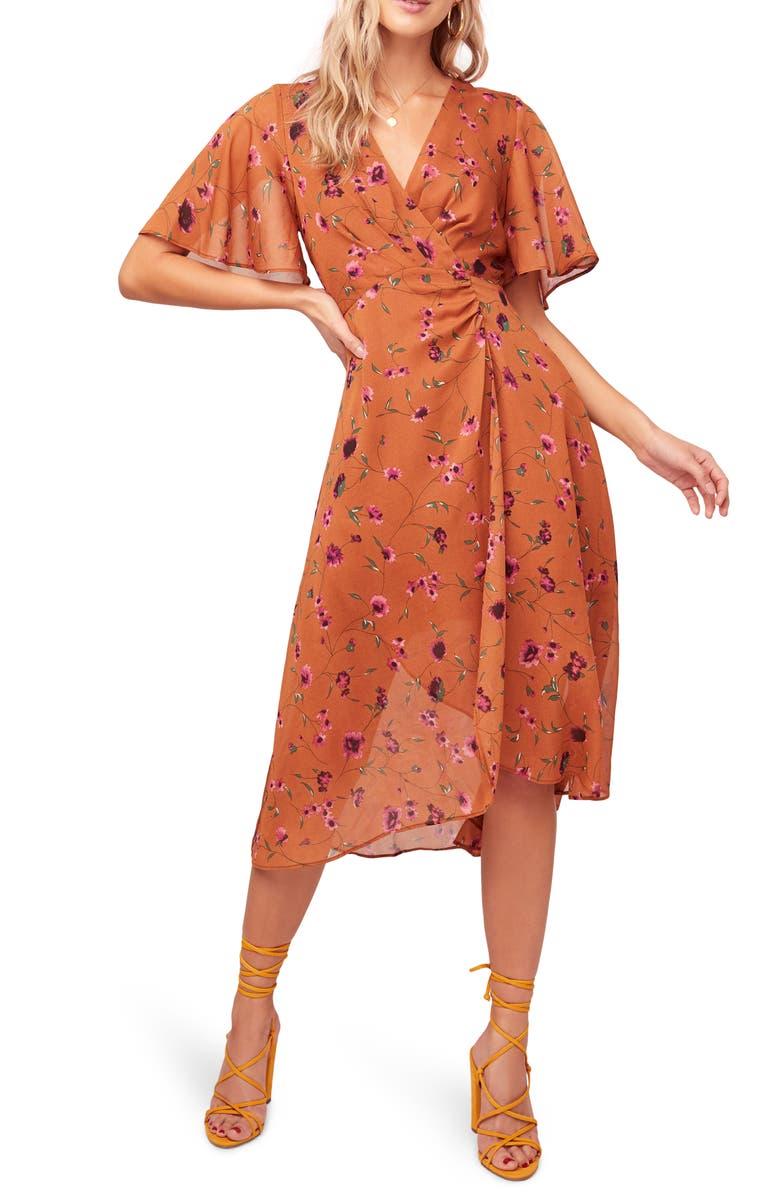 ASTR THE LABEL Delaney Faux Wrap Flutter Sleeve Dress, Main, color, RUST-FUCHSIA FLORAL