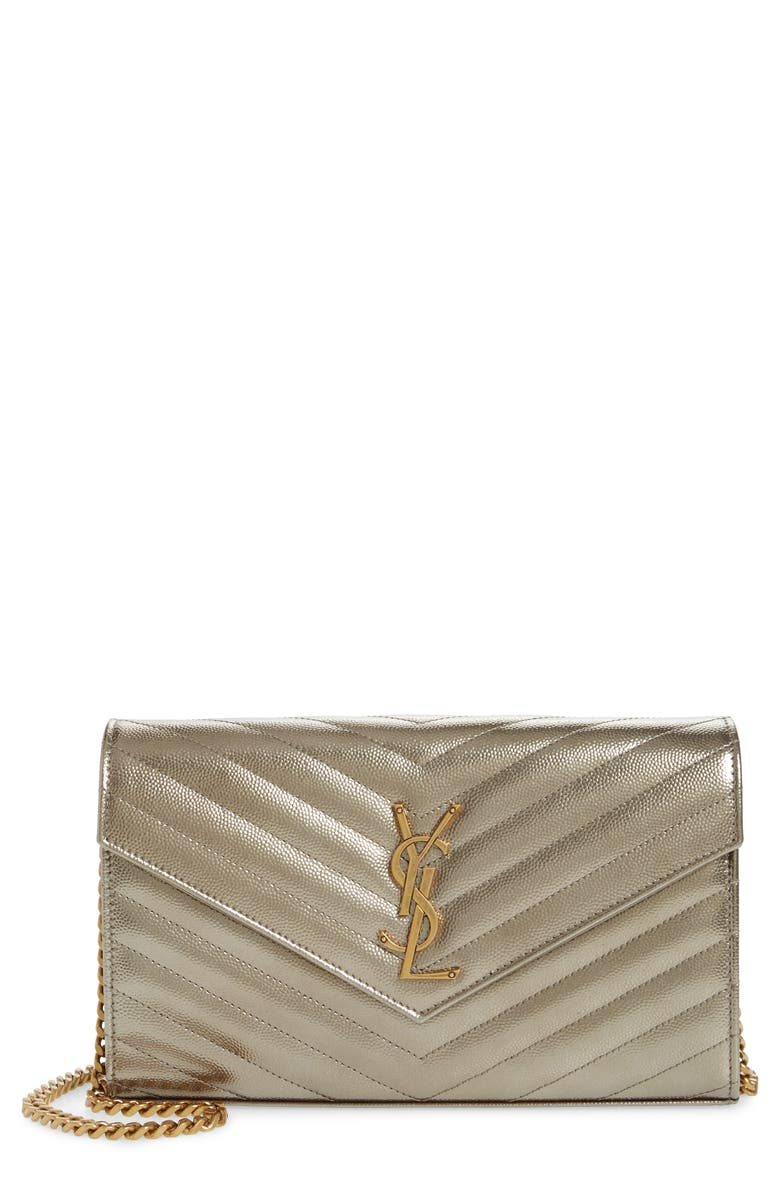 SAINT LAURENT Monogramme Quilted Metallic Leather Wallet on a Chain, Main, color, BRUN METALLISE