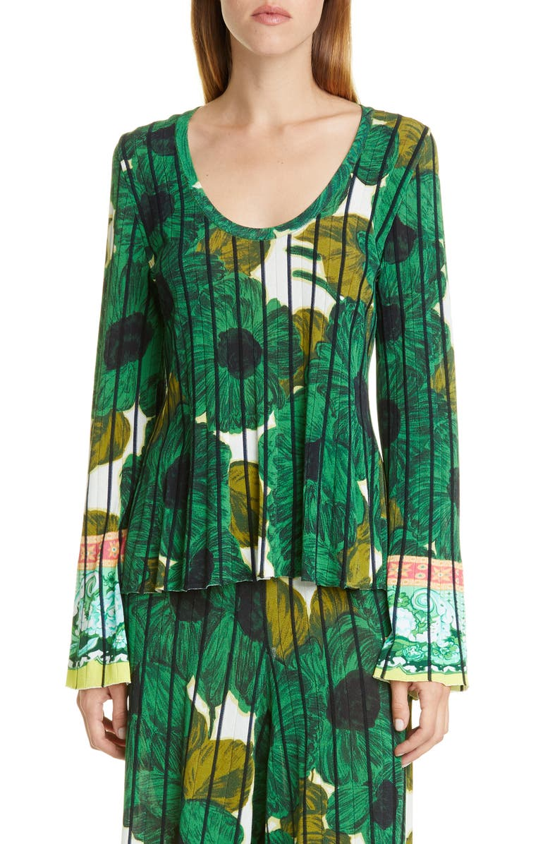 ETRO Brushstroke Floral Print Knit Top, Main, color, GREEN